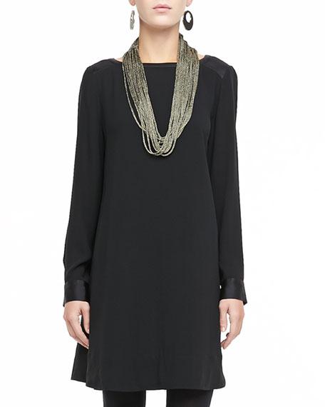 Washable Silk Long-Sleeve Dress, Petite