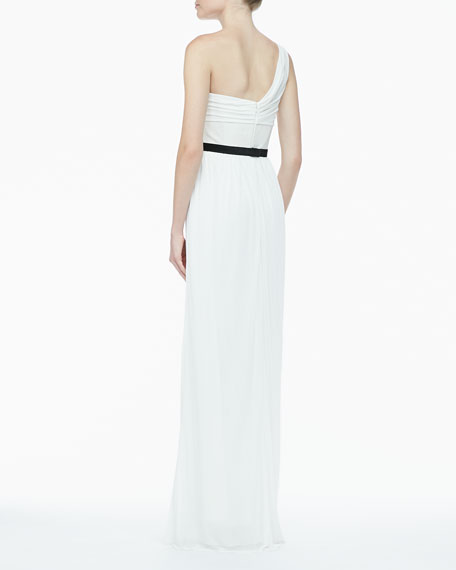 One-Shoulder Jersey & Leather Gown