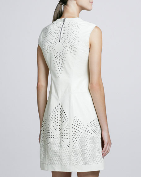 Perforated & Studded Leather Dress