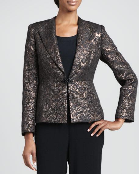 Metallic Jacquard Peplum Jacket