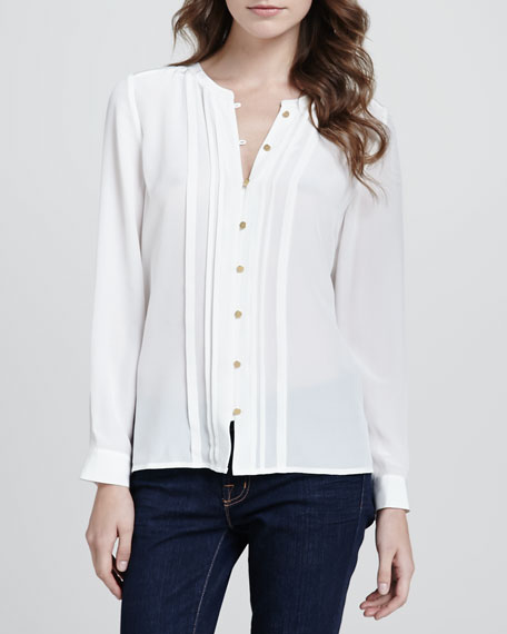 Ornice Pleated Silk Top