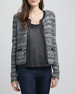 Joie Jacolyn Leather-Trim Tweed Jacket