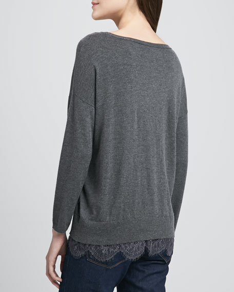 Hilano Lace-Hem Sweater
