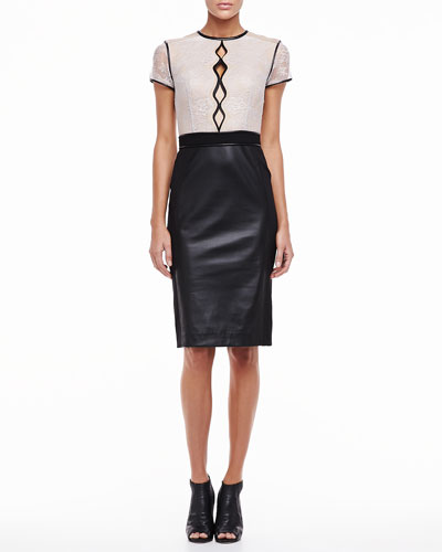 Catherine Deane Short Sleeve Lace and Leather Cocktail Dress