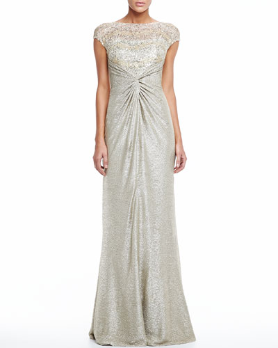 David Meister Shimmery Lace Gown