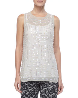 Nicole Miller Jewel-Neckline Sequin Top