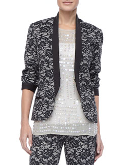 Nicole Miller Fitted Delicate Lace Jacket
