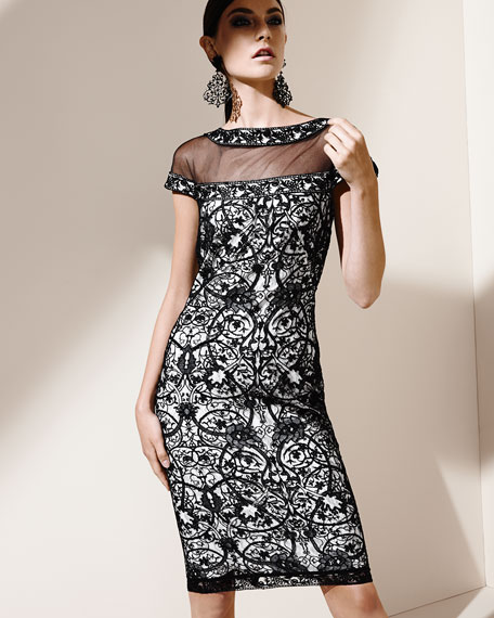 Lace Cocktail Dress with Cap Sleeves