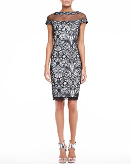 Tadashi Shoji Lace Cocktail Dress with Cap Sleeves