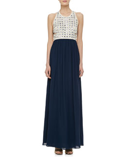 Diane von Furstenberg Gidget Crystal Stud Long Dress