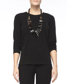 Eileen Fisher Silk Jersey Long-Sleeve Tee, Petite