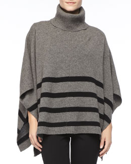 Eileen Fisher Wool Striped Turtleneck Poncho