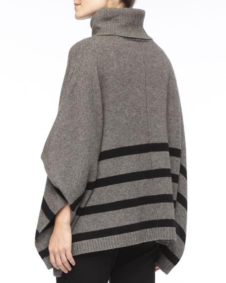 Wool Striped Turtleneck Poncho, Women's