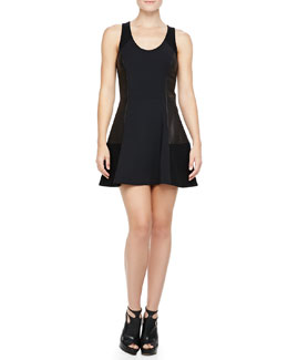 Rag & Bone Montrose Leather-Panel Dress