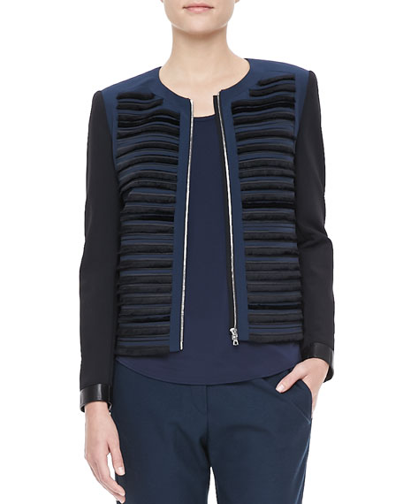 Gray Ribbed Zip Jacket