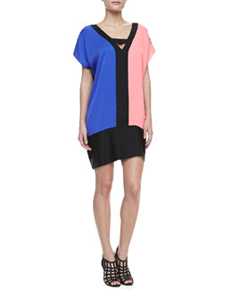 Milly Colorblock Stretch-Silk Dress