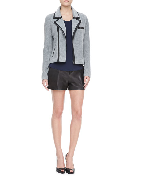 Elm Pleated Leather Shorts