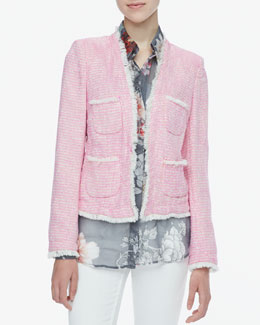 L'Agence Frayed-Trim Tweed Jacket