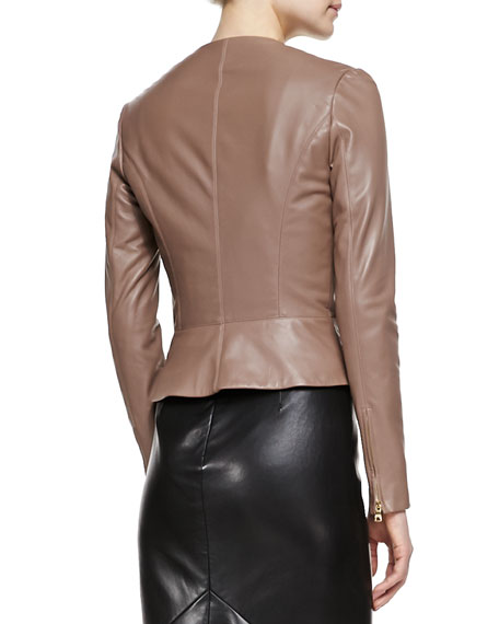 Collarless Fitted Leather Jacket