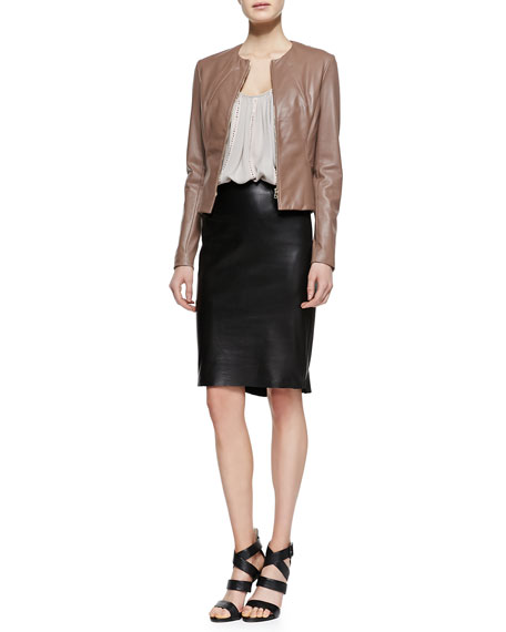 Flutter-Hem Leather Skirt