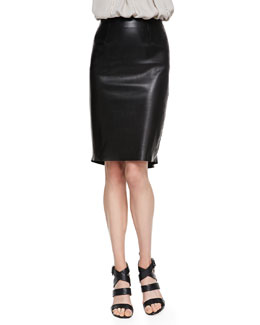 L'Agence Flutter-Hem Leather Skirt