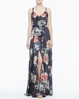 L'Agence Ruffle-Front Maxi Dress