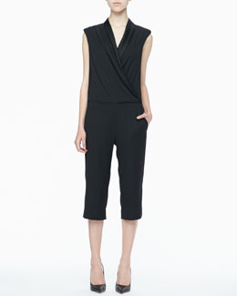 L'Agence Bermuda Cropped Draped Jumpsuit