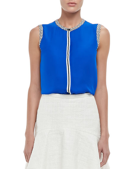 Printed-Trim Sleeveless Blouse