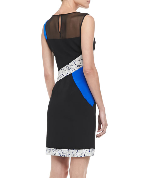 Whitney Print-Stripe Silk Dress