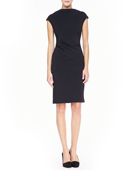 Cowl-Neck Sheath Dress, Black