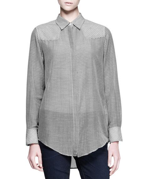 Reedwood Striped Shoulder-Patch Shirt
