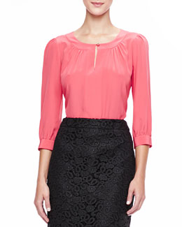 kate spade new york jolette 3/4-sleeve blouse with keyhole, strawberry