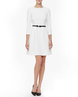 kate spade new york keegan 3/4-sleeve dress, cream