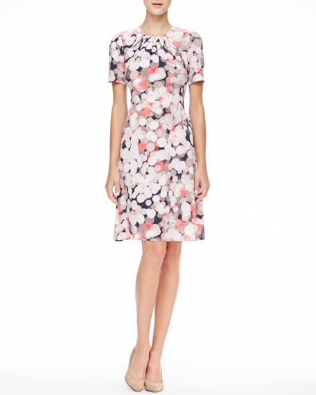 joilet short-sleeve printed silk dress