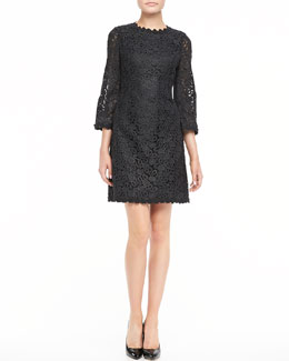kate spade new york quinn 3/4-sleeve lace dress