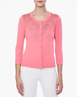 kate spade new york benson long-sleeve beaded cardigan