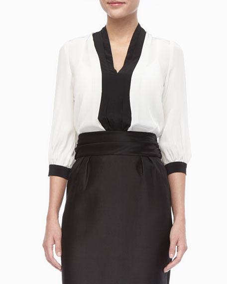 livy colorblock 3/4-sleeve blouse