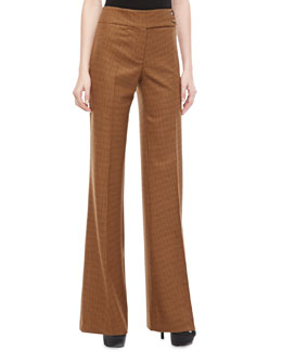 Michael Kors Jaryn Check Stretch-Wool Pants