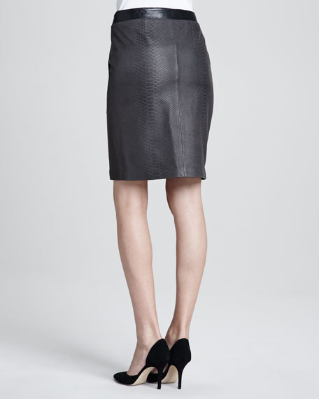 Leather Snake Pencil Skirt