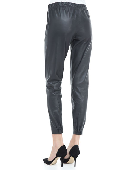 Cropped Leather Pants, Graphite