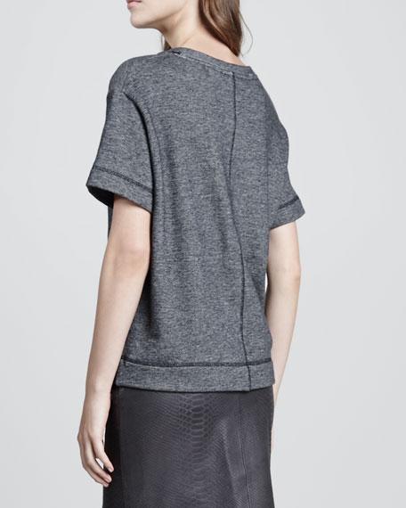 Luxe Short-Sleeve Knit Sweatshirt