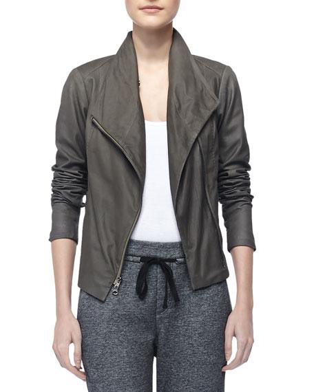 Paper Asymmetric Leather Jacket