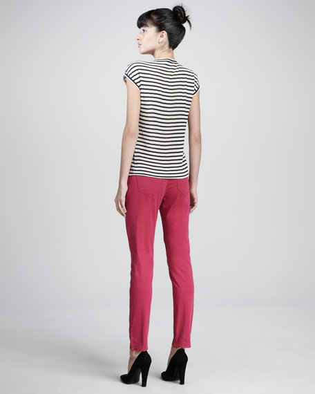 Denim Straight-Leg Trousers, Raspberry