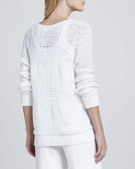 Wide-Stitch V-Neck Sweater