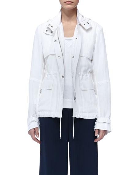 Luxe Hooded Short Anorak, White