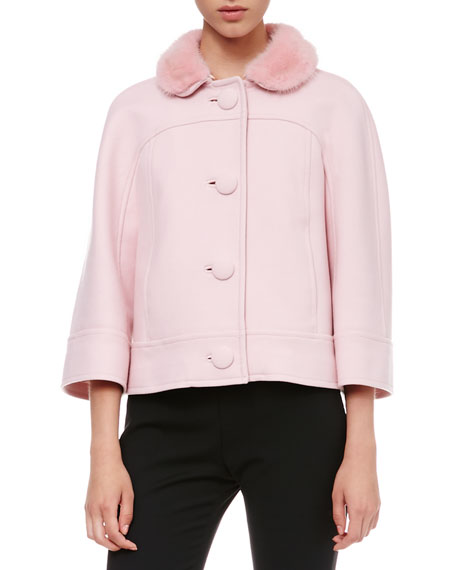 Fur-Collar Swing Jacket