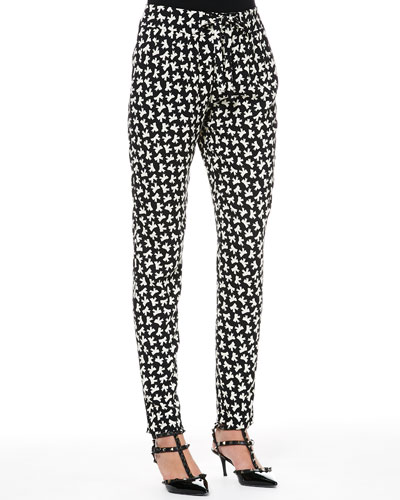RED Valentino Bow-Print Slim Ankle Pants