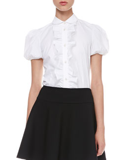 RED Valentino Short-Sleeve Ruffled Poplin Blouse