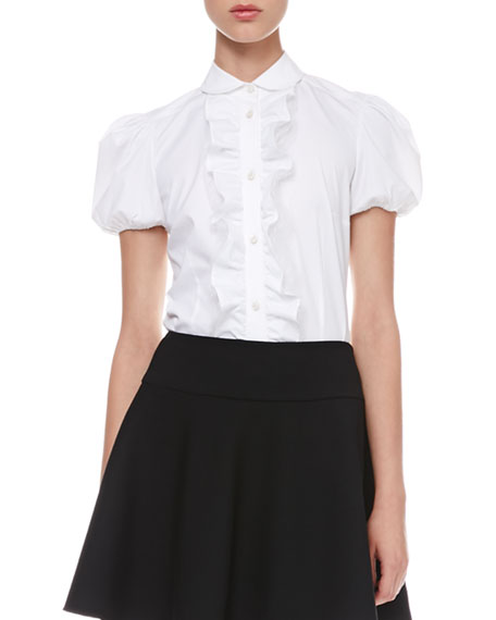Short-Sleeve Ruffled Poplin Blouse