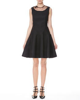 RED Valentino Drop-Waist Mesh-Neck Dress